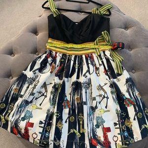DVF Caran Keys Dress Ribbon Silk Retro Glam